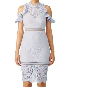 Pale Blue Lace Cold Shoulder Dress
